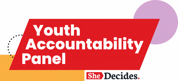 Logo with Youth Accountability Panel in the centre of a red parallelogram, with yellow rectangle and lilac circle overlapping on the left and right